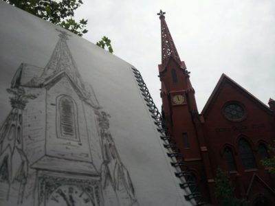 artistic biker church sketch