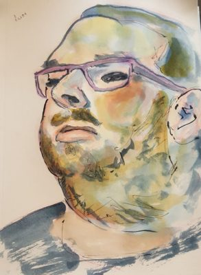 Watercolor portrait of my buddy Aaron